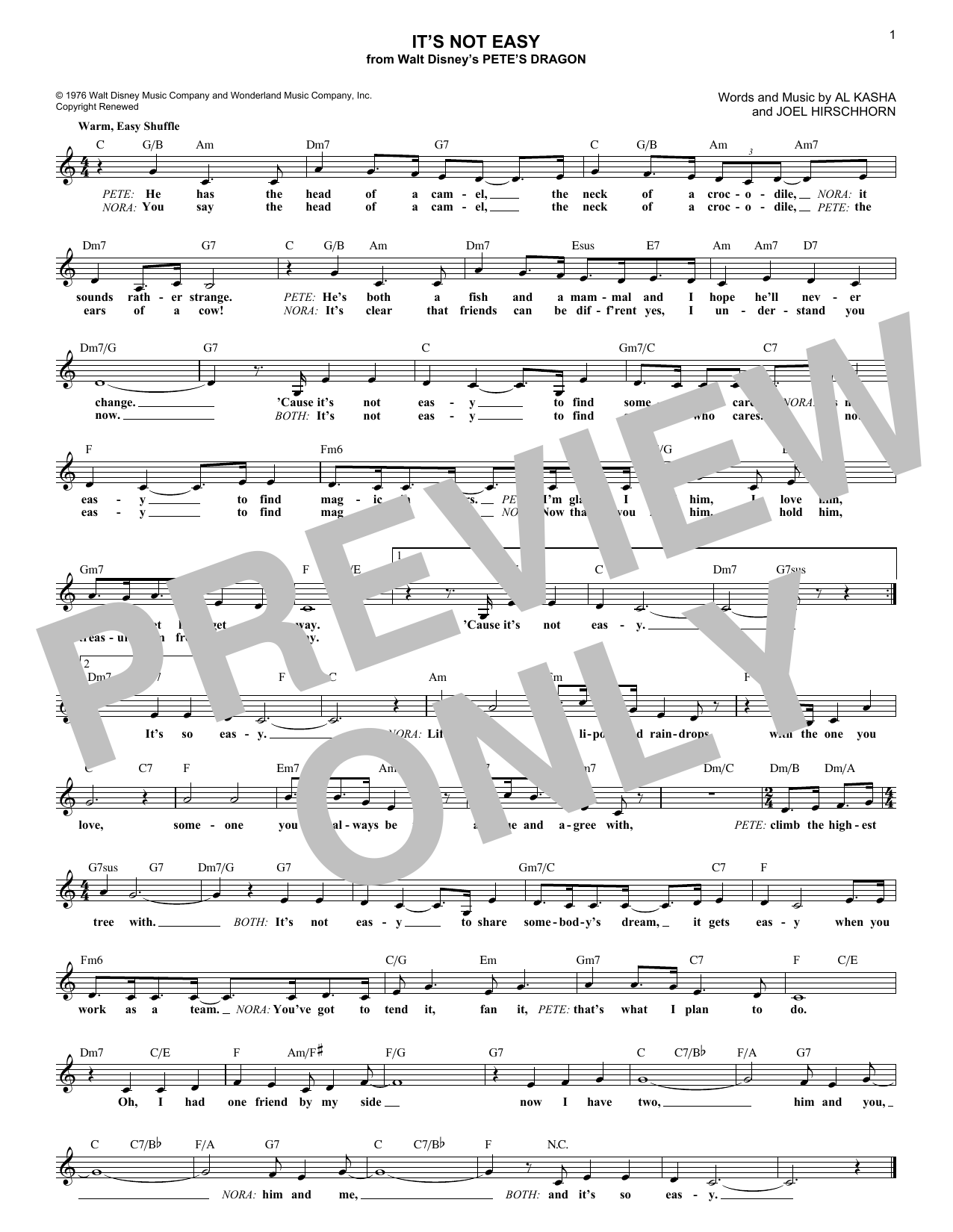It's Not Easy (Lead Sheet / Fake Book)
