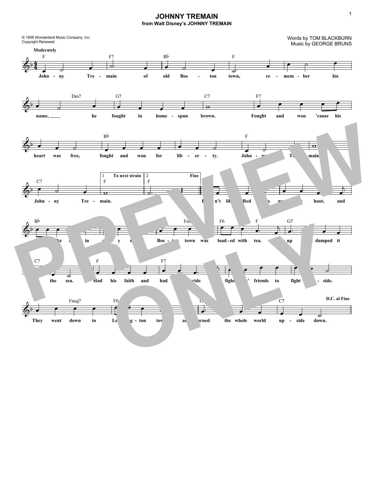 Johnny Tremain (Lead Sheet / Fake Book)