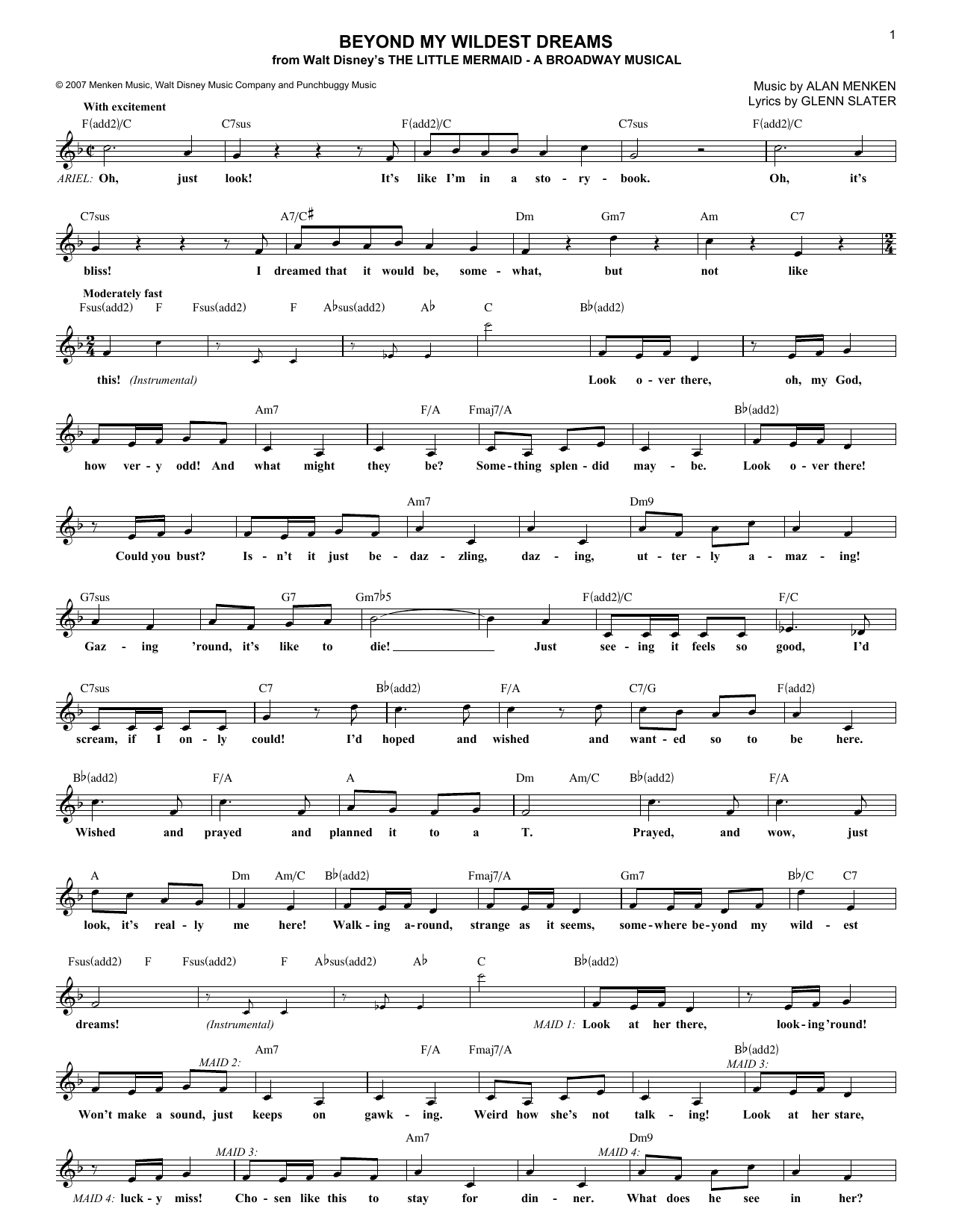 Beyond My Wildest Dreams (Lead Sheet / Fake Book)