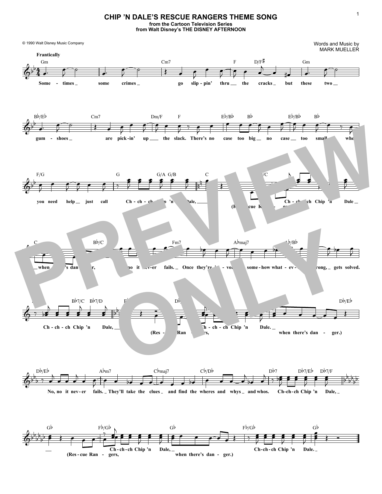 Chip 'N Dale's Rescue Rangers Theme Song (Lead Sheet / Fake Book)