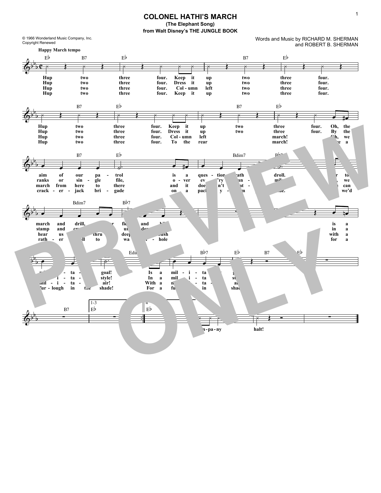 Colonel Hathi's March (The Elephant Song) (from The Jungle Book) (Lead Sheet / Fake Book)