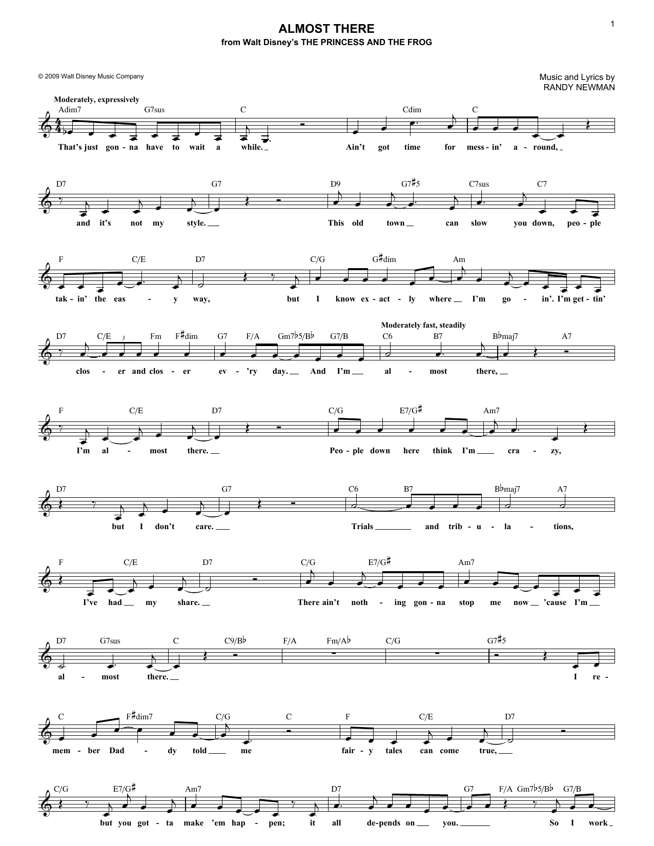 Almost There (Lead Sheet / Fake Book)