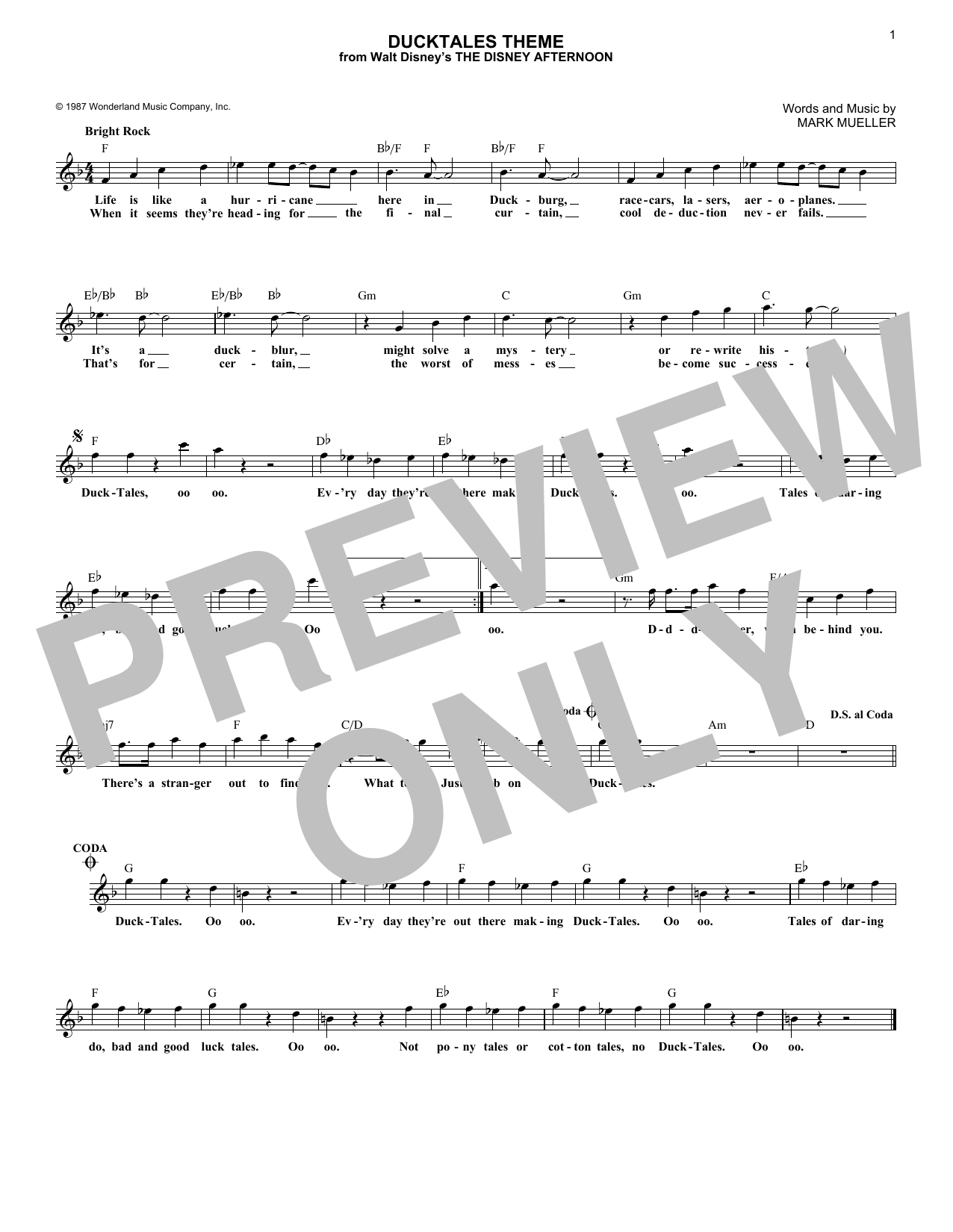 DuckTales Theme (Lead Sheet / Fake Book)