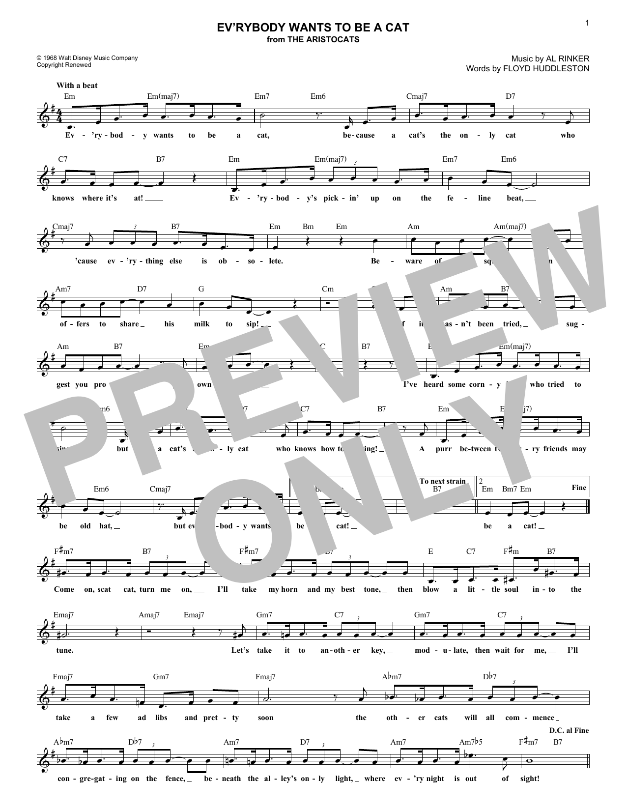 Ev'rybody Wants To Be A Cat (Lead Sheet / Fake Book)