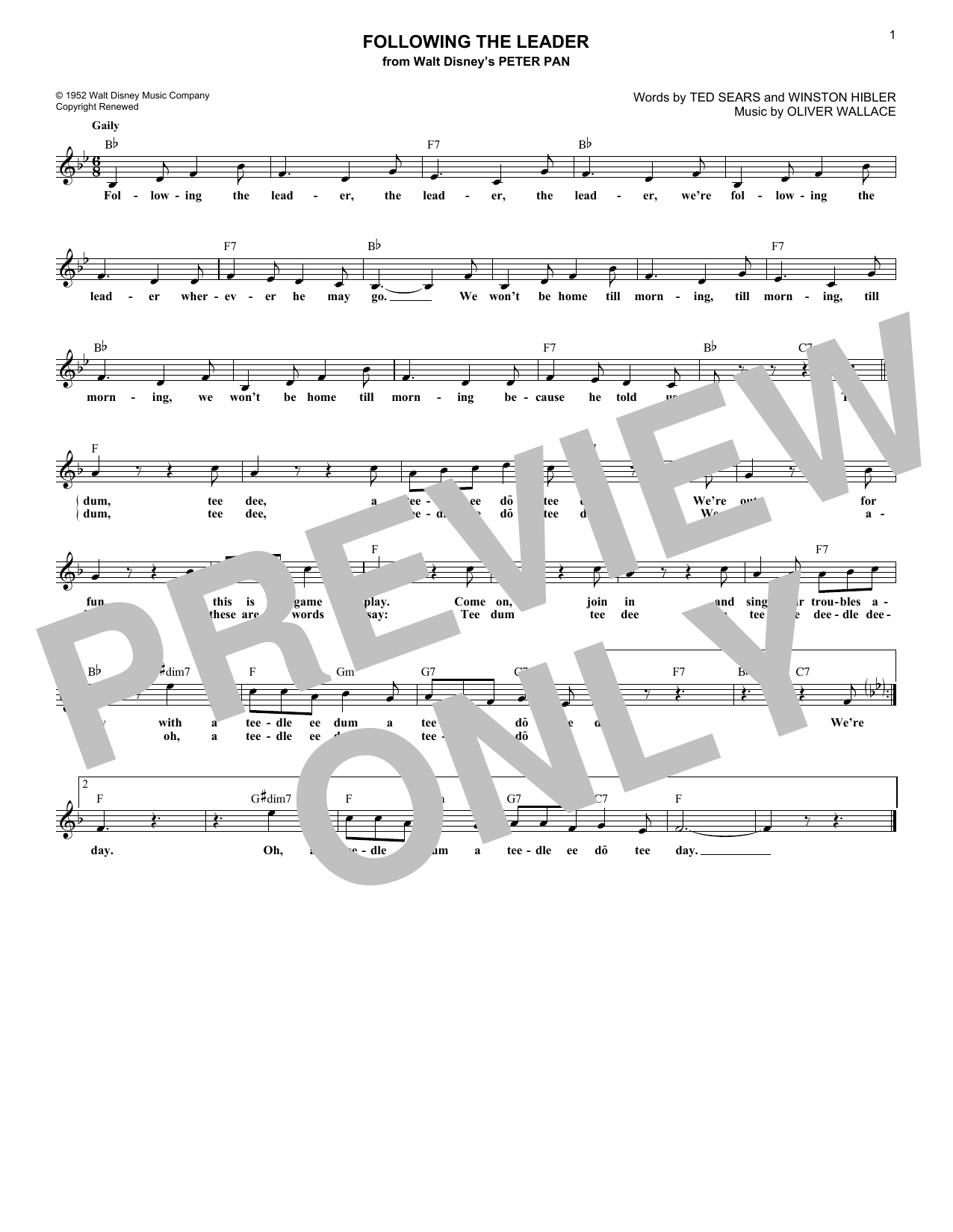 Following The Leader (Lead Sheet / Fake Book)