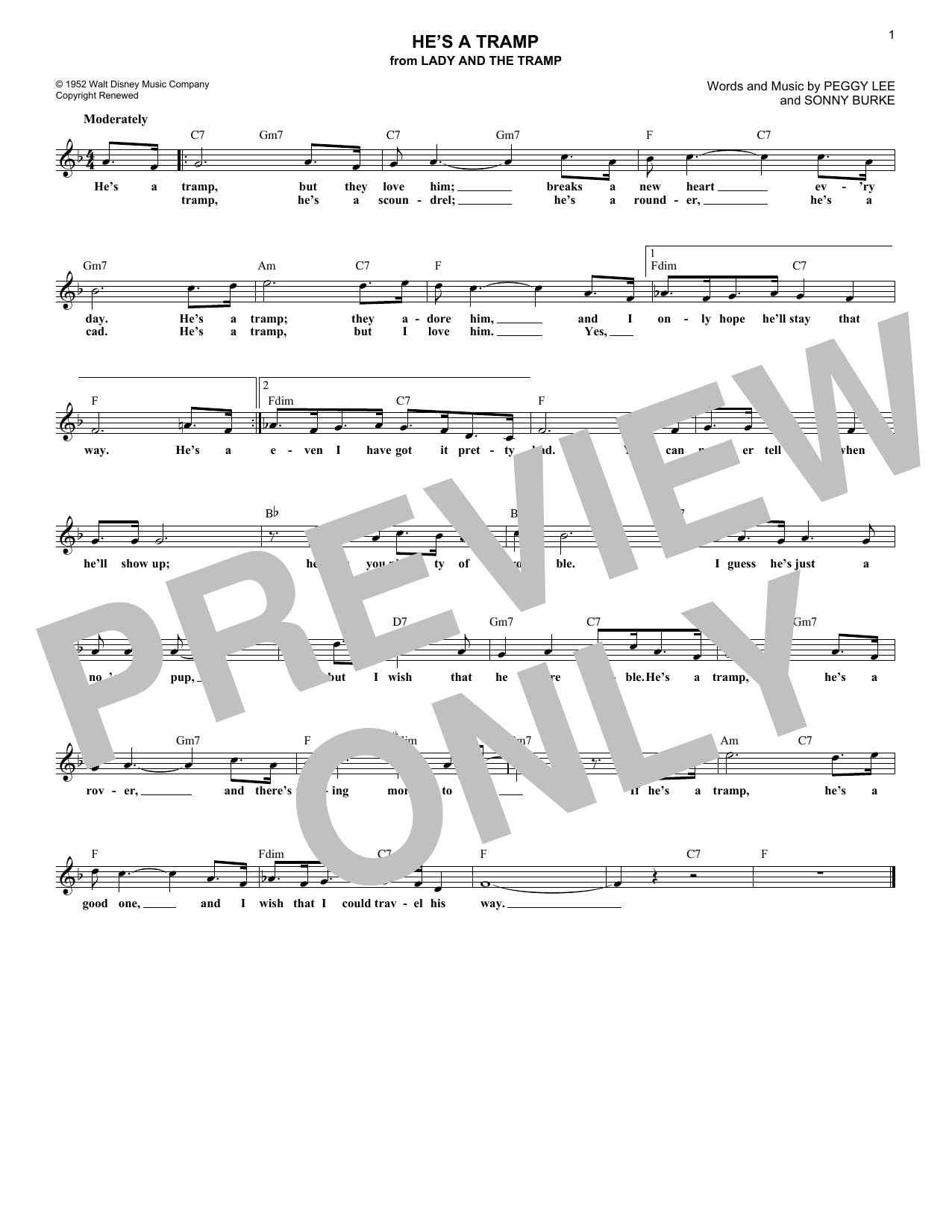 He's A Tramp (from Lady And The Tramp) (Lead Sheet / Fake Book)