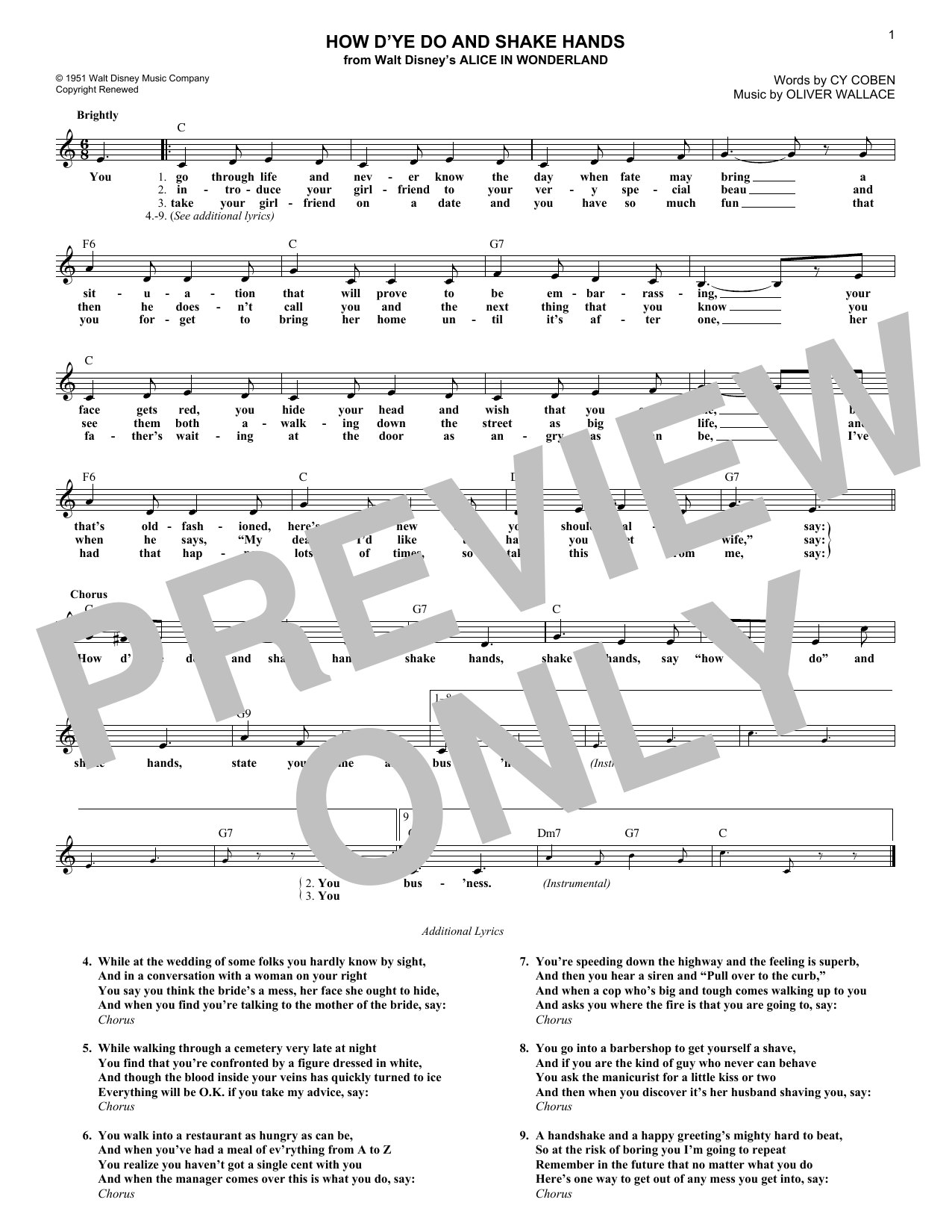 How D'ye Do And Shake Hands (Lead Sheet / Fake Book)