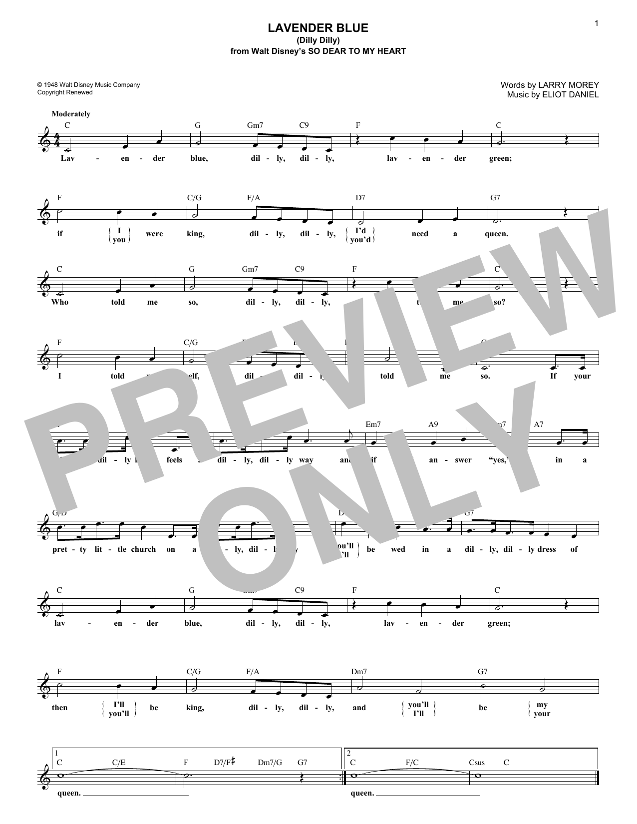 Lavender Blue (Dilly Dilly) (Lead Sheet / Fake Book)