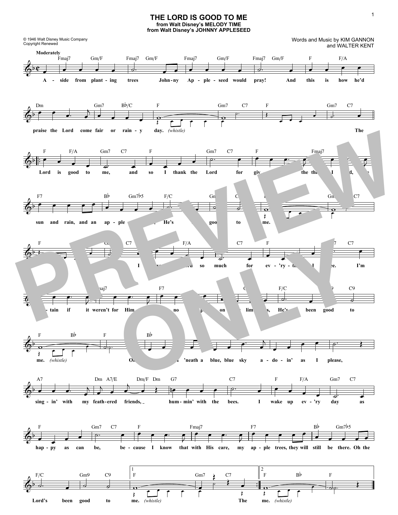 The Lord Is Good To Me (Lead Sheet / Fake Book)