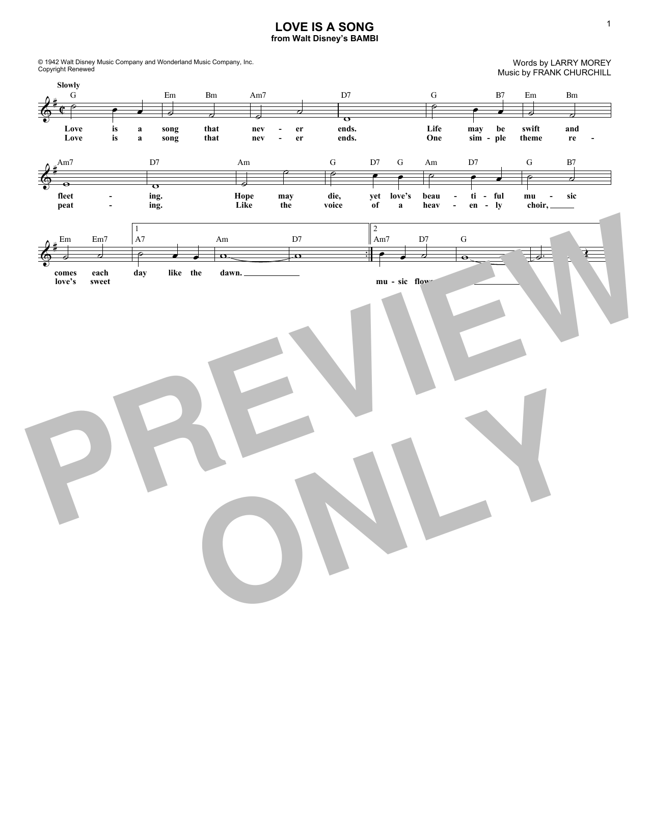 Love Is A Song (Lead Sheet / Fake Book)