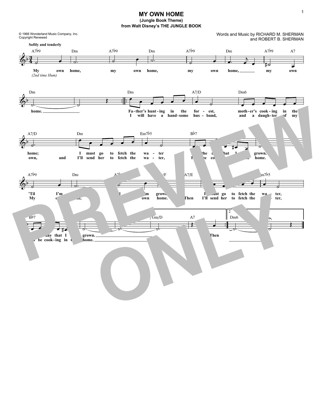 My Own Home (Jungle Book Theme) Sheet Music