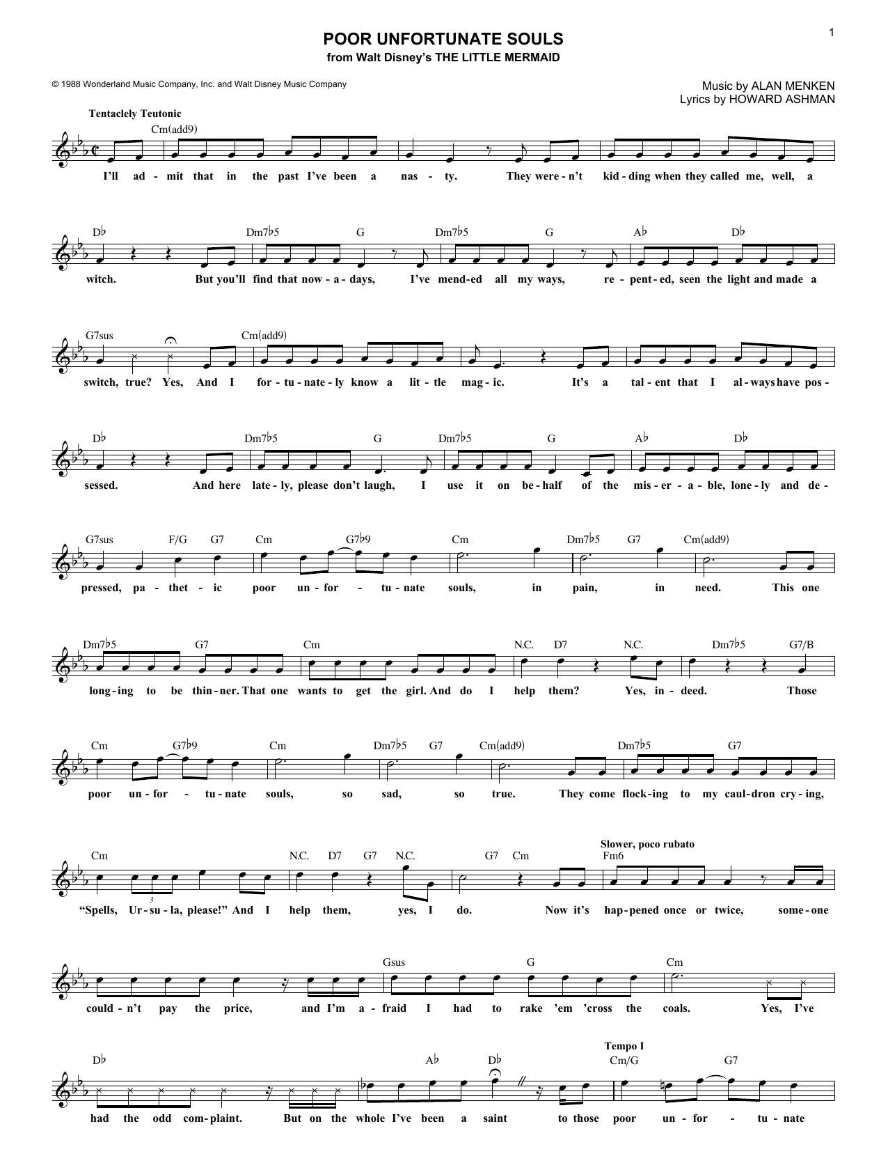 Poor Unfortunate Souls (from The Little Mermaid) (Lead Sheet / Fake Book)