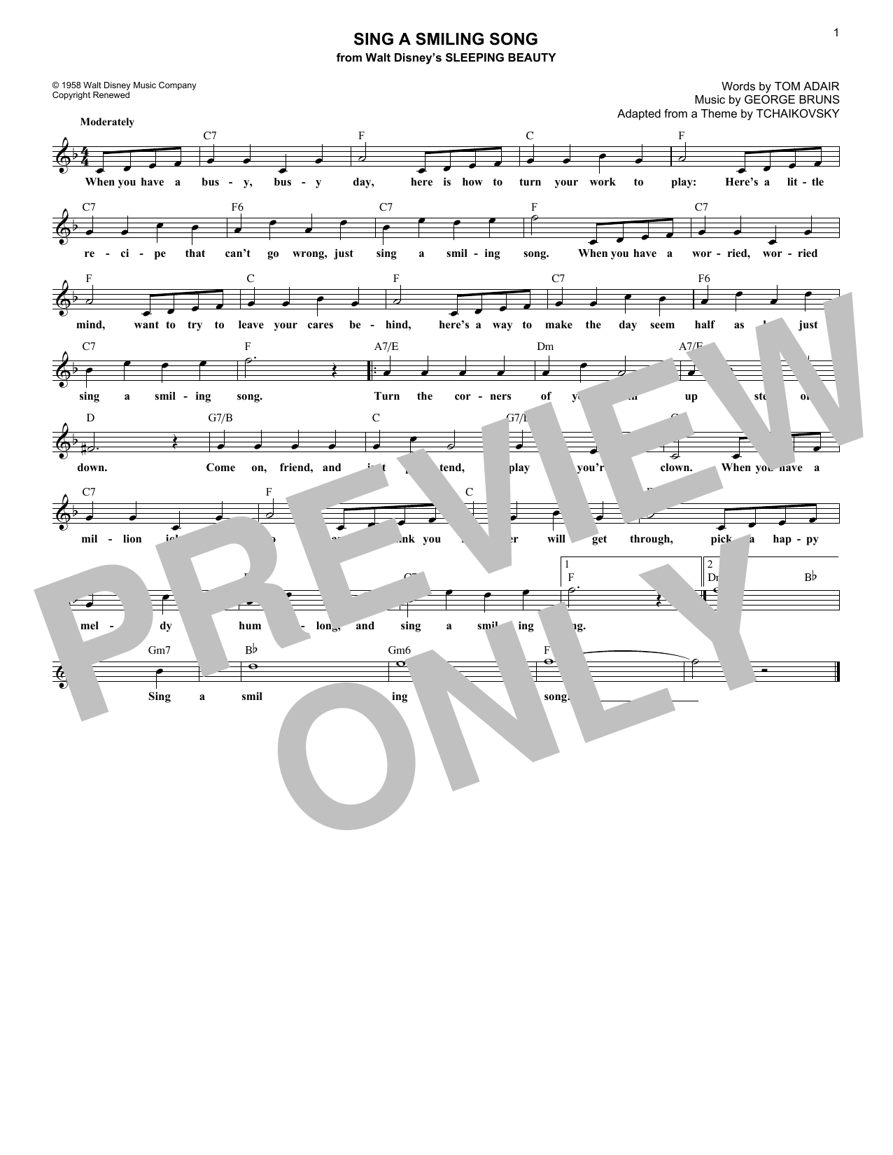 Sing A Smiling Song (Lead Sheet / Fake Book)