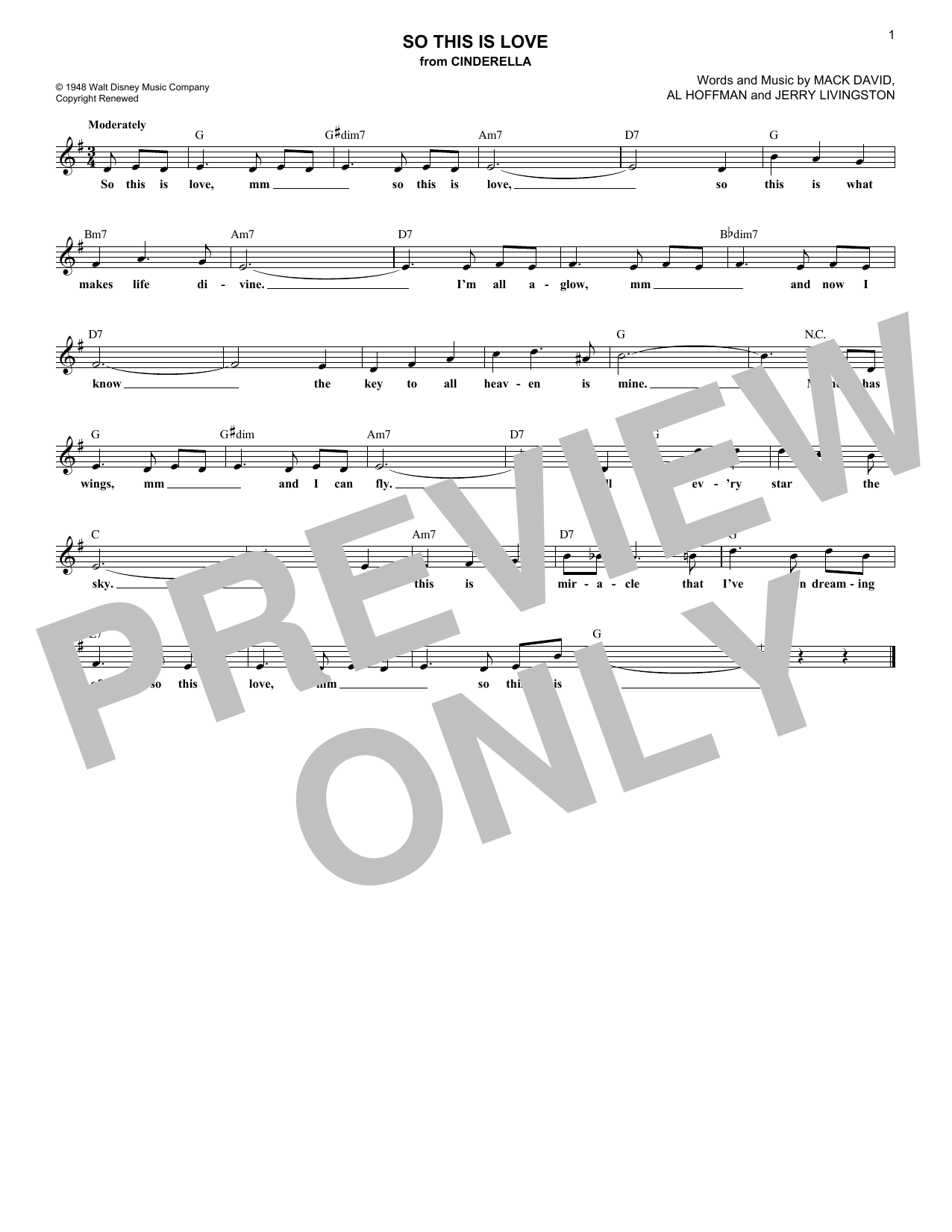 So This Is Love (Lead Sheet / Fake Book)