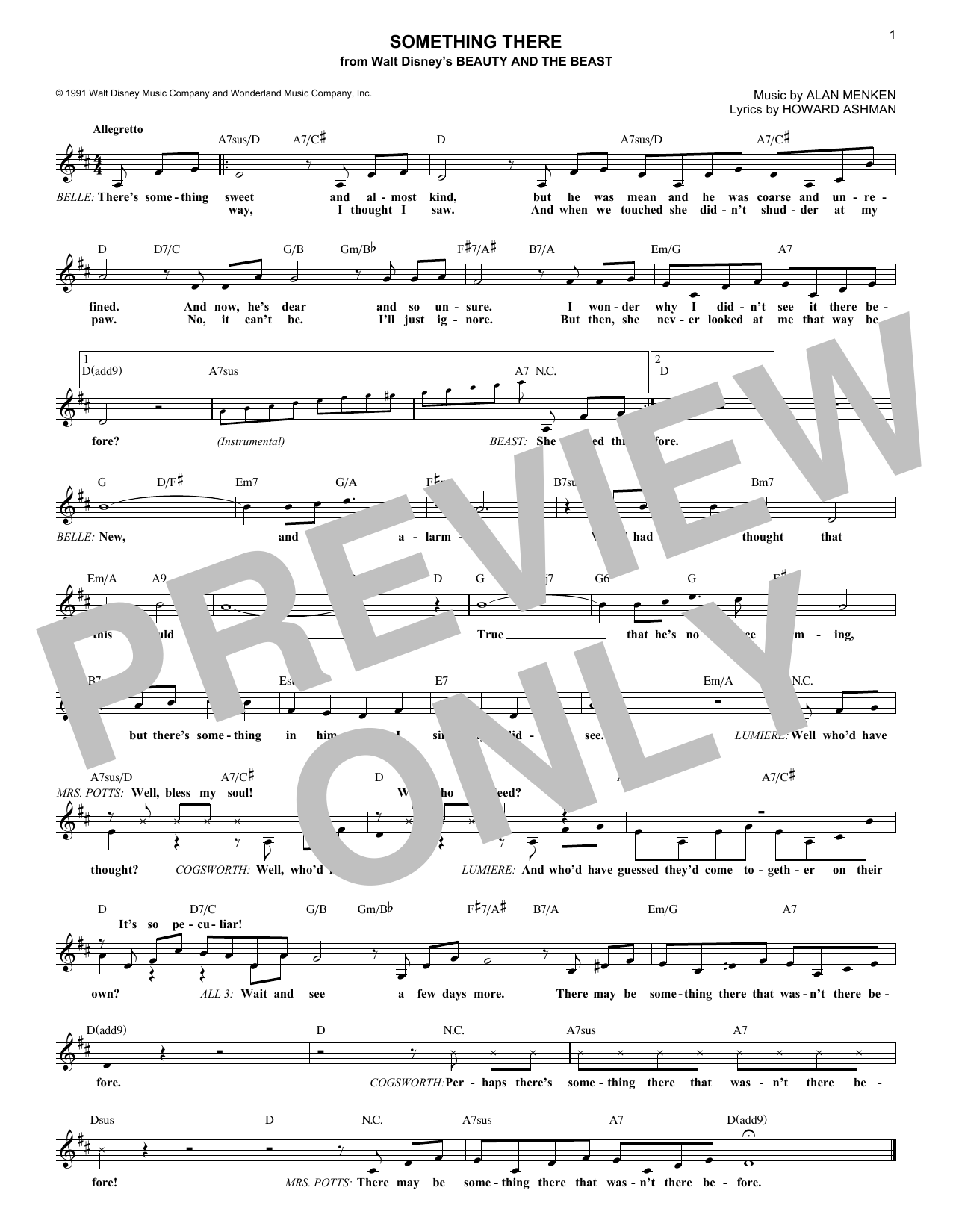 Something There (Lead Sheet / Fake Book)