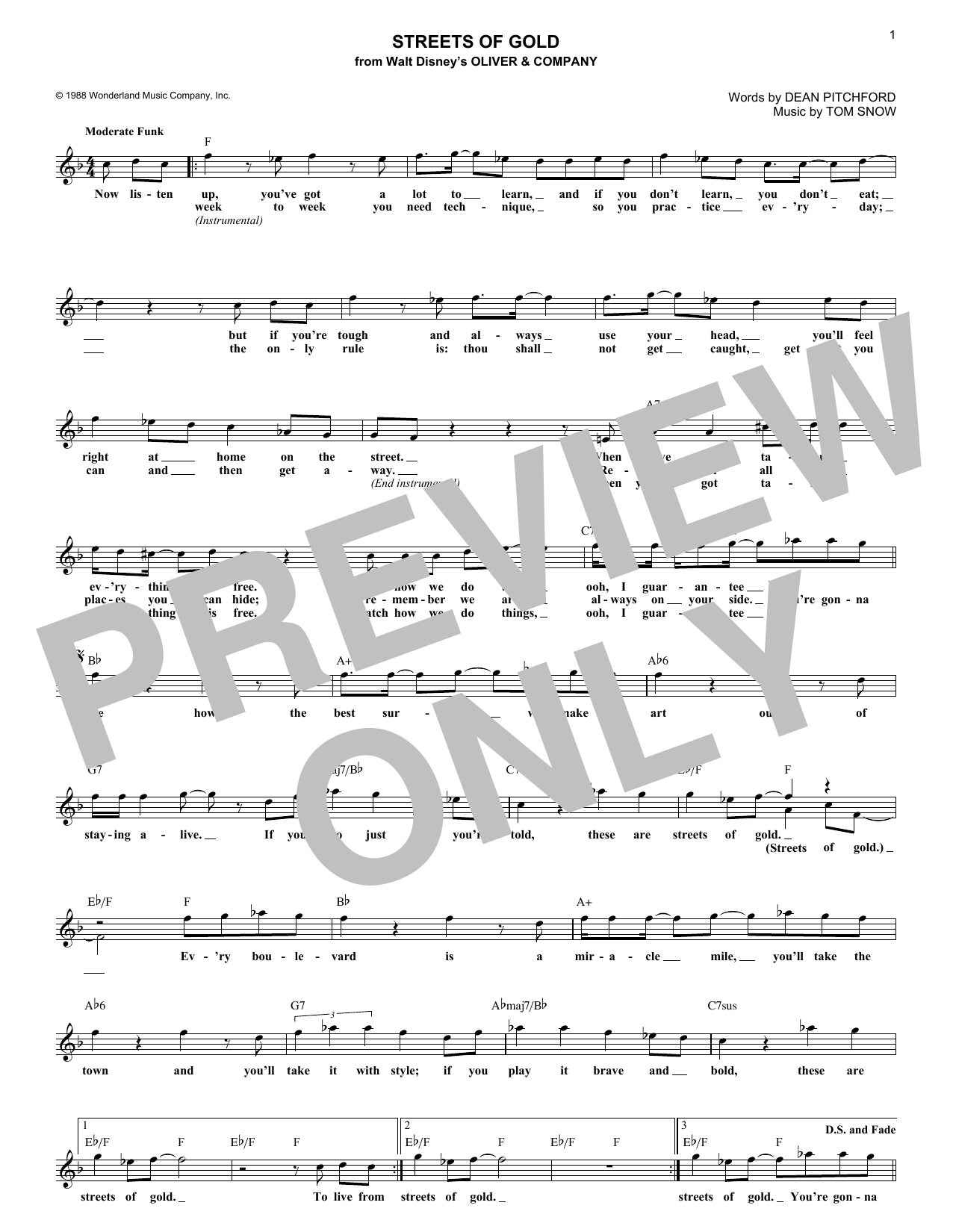 Streets Of Gold (Lead Sheet / Fake Book)