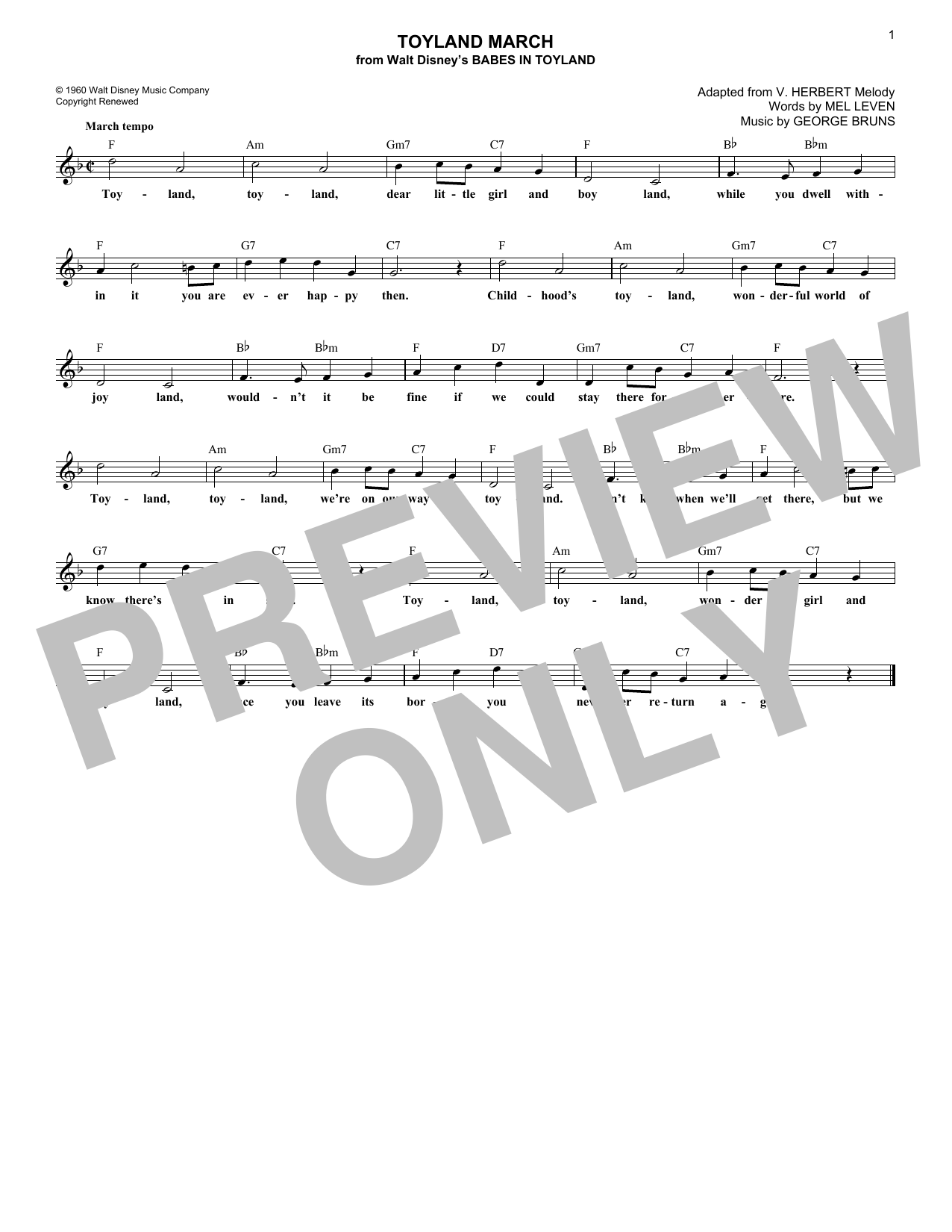 Toyland March (Lead Sheet / Fake Book)