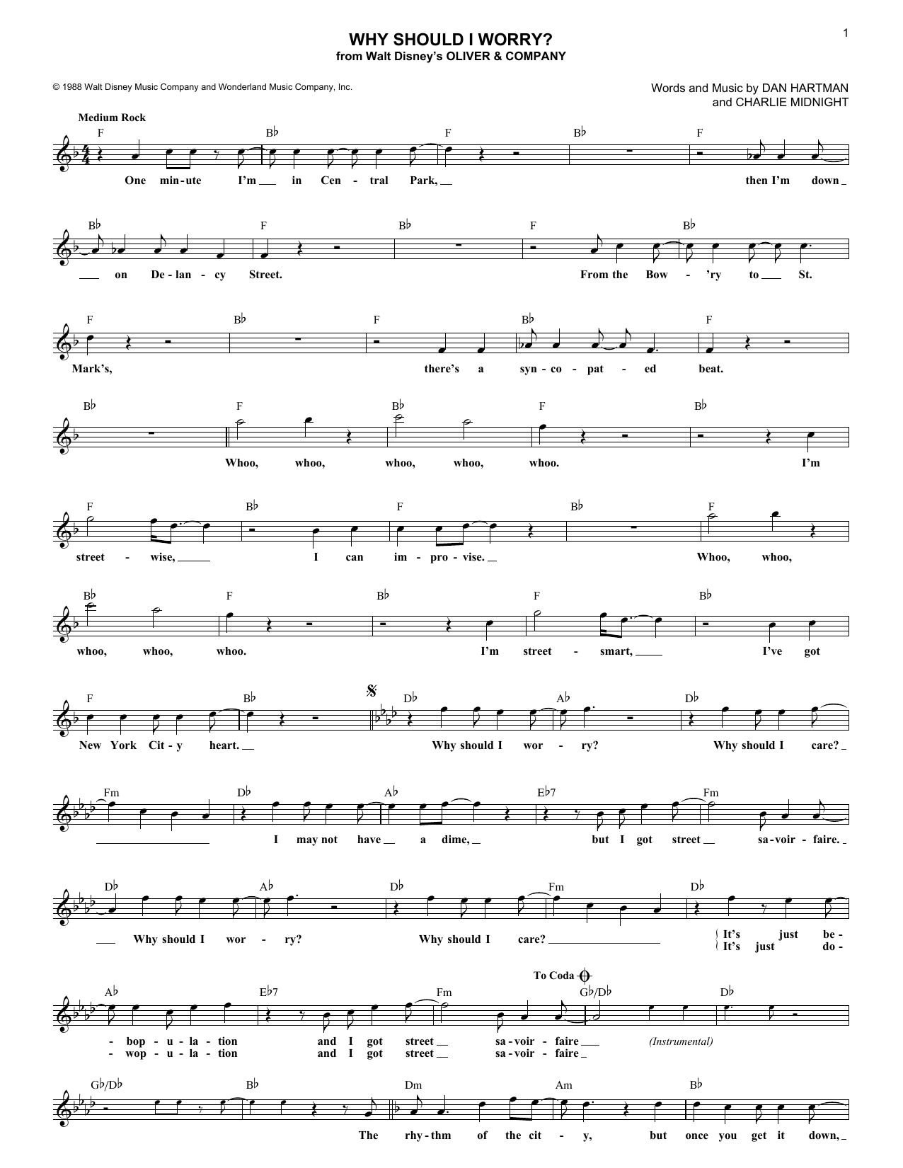 Why Should I Worry? (Lead Sheet / Fake Book)