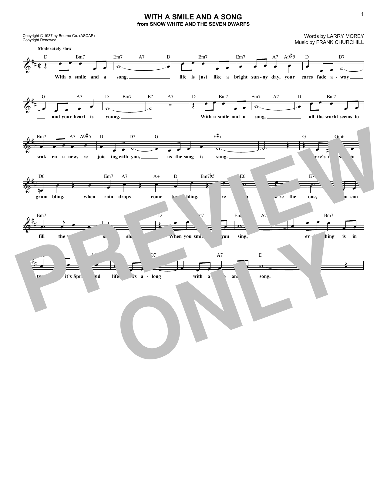 With A Smile And A Song (Lead Sheet / Fake Book)