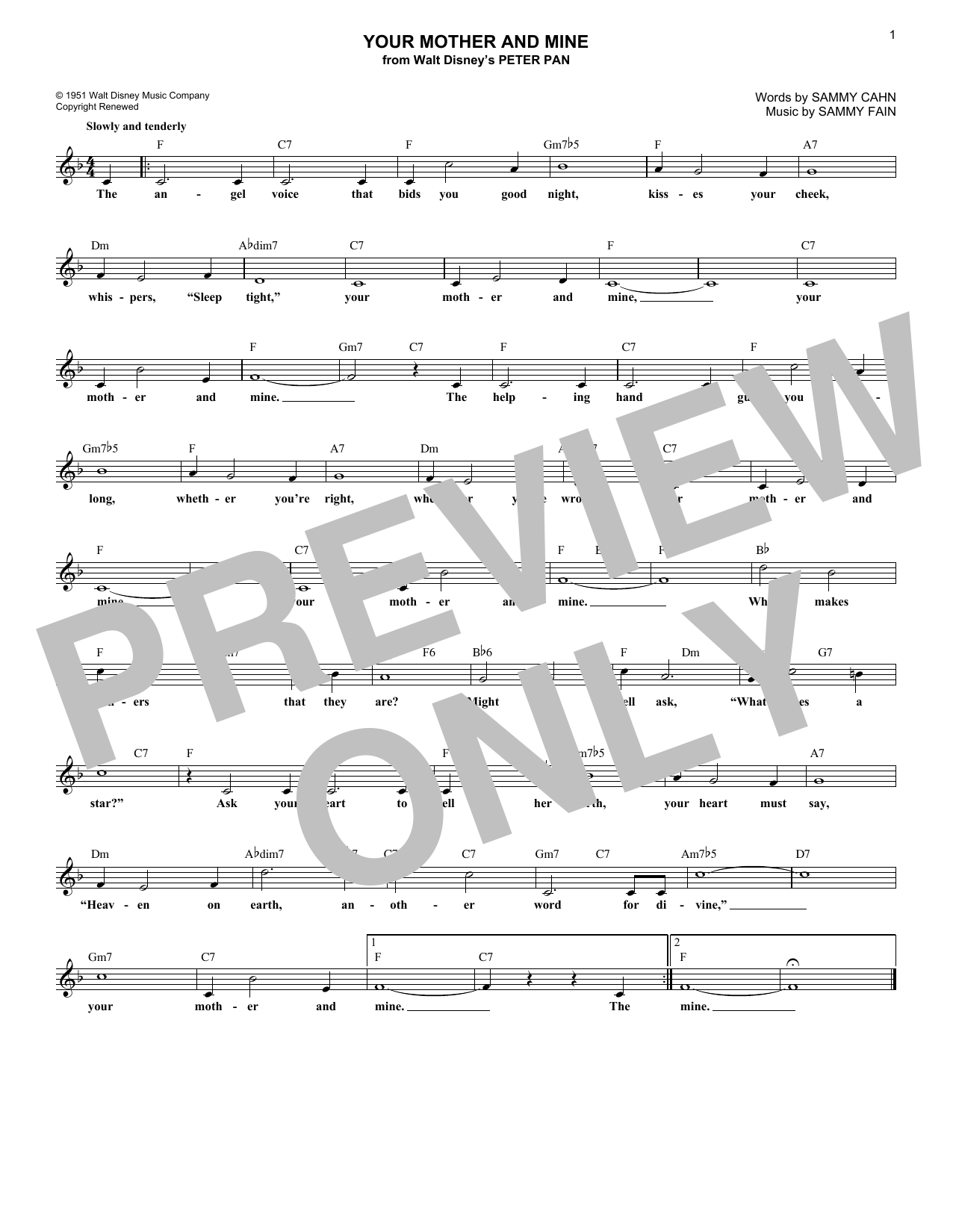 Your Mother And Mine (Lead Sheet / Fake Book)