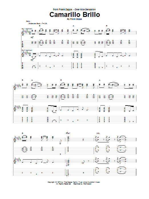 Tablature guitare Camarillo Brillo de Frank Zappa - Tablature Guitare
