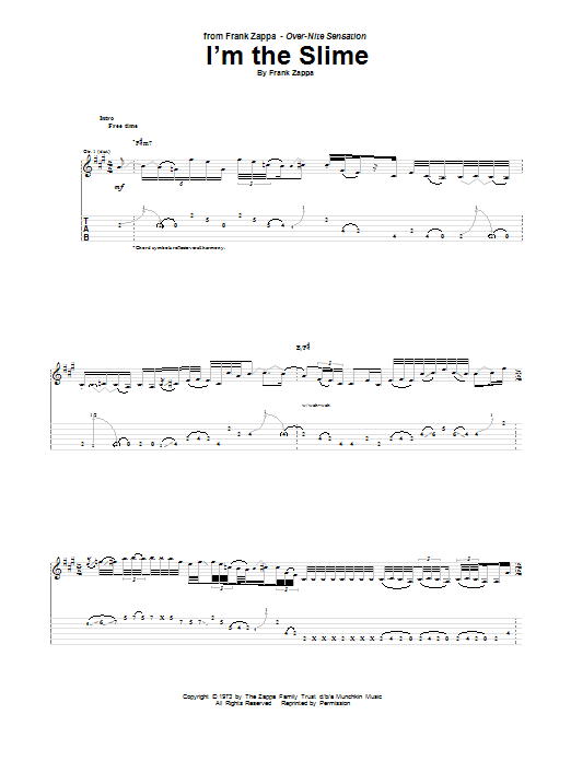 Tablature guitare I'm The Slime de Frank Zappa - Tablature Guitare