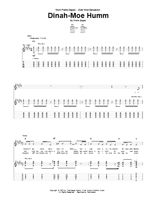 Tablature guitare Dinah-Moe Humm de Frank Zappa - Tablature Guitare