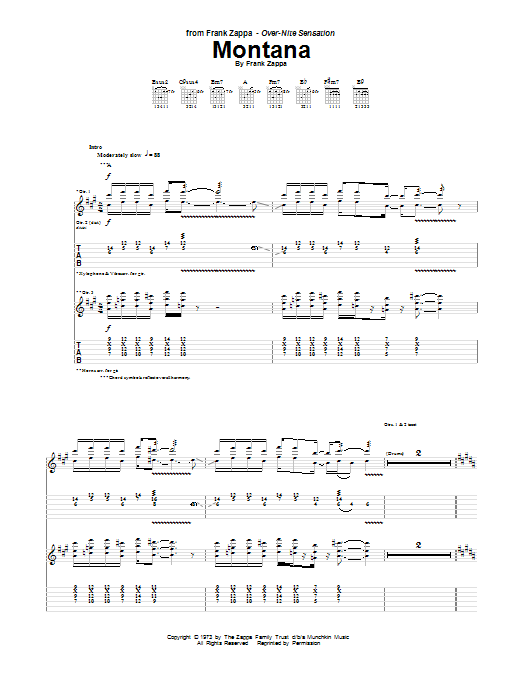 Tablature guitare Montana de Frank Zappa - Tablature Guitare
