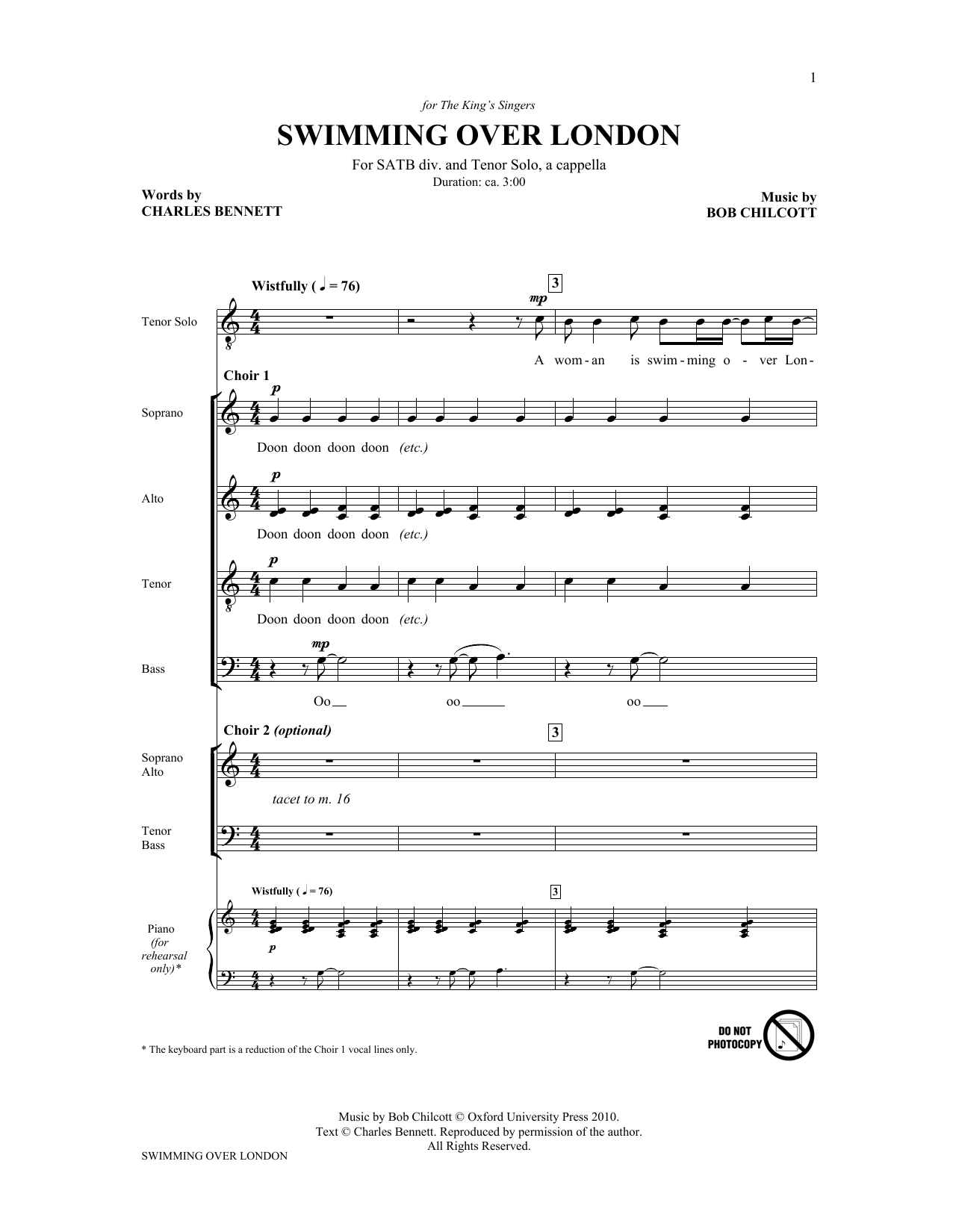 Swimming Over London (from Swimming Over London) (SATB Choir)