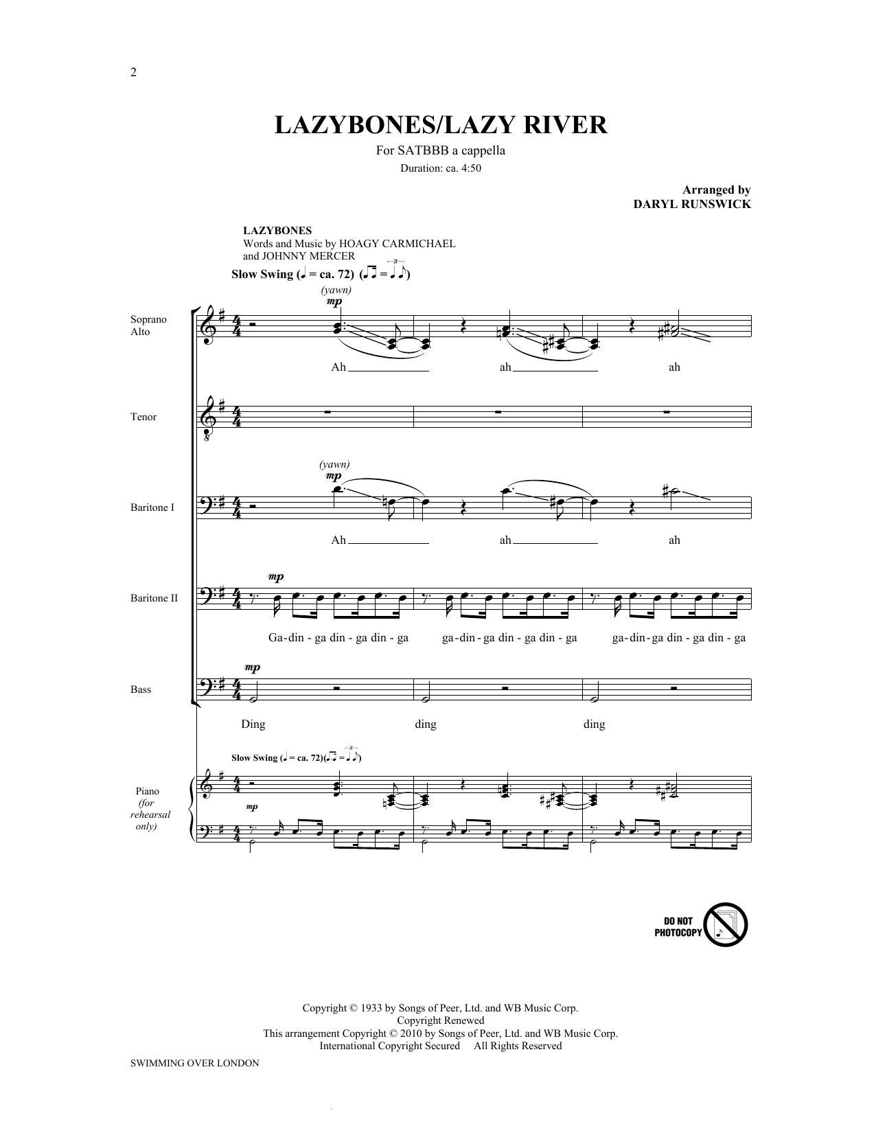 Lazybones/Lazy River (from Swimming Over London) Sheet Music