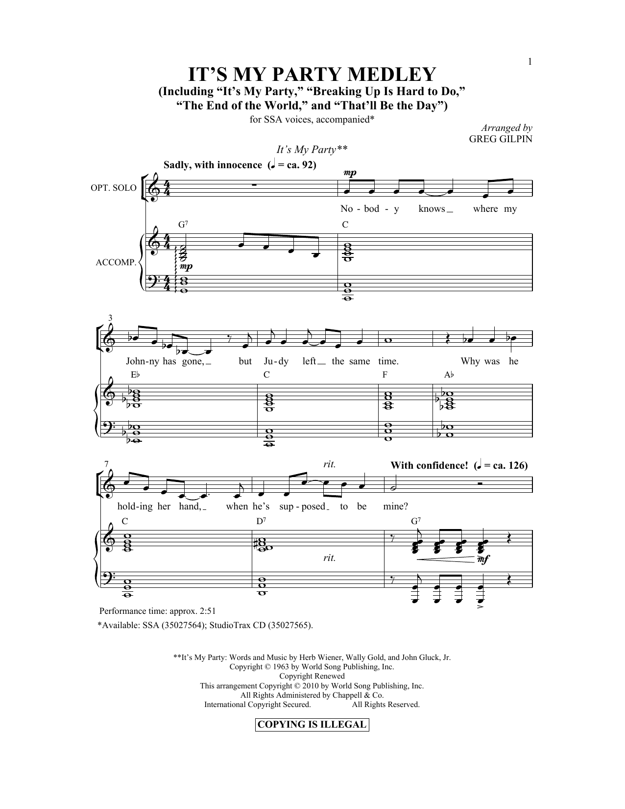 It's My Party Medley Sheet Music