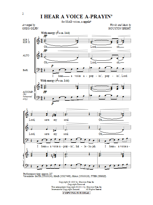 I Hear A Voice A-Prayin' (arr. Greg Gilpin) Sheet Music