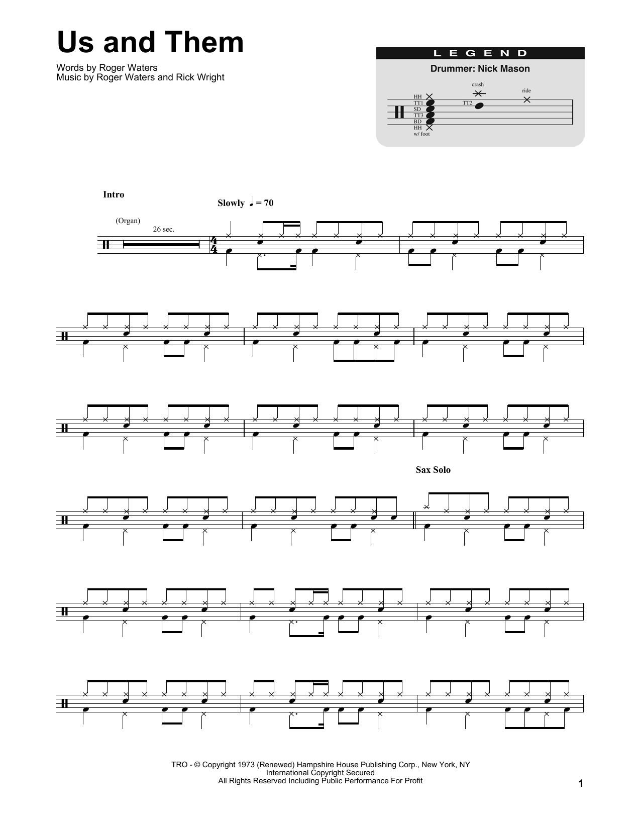 Us And Them (Drums Transcription)