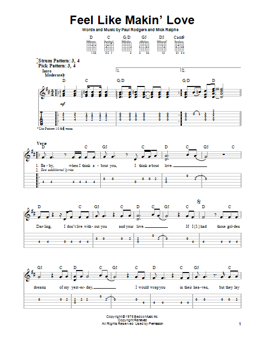 Feel Like Makin' Love (Easy Guitar Tab)