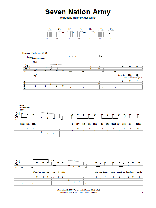 Seven Nation Army by The White Stripes - Easy Guitar Tab - Guitar Instructor