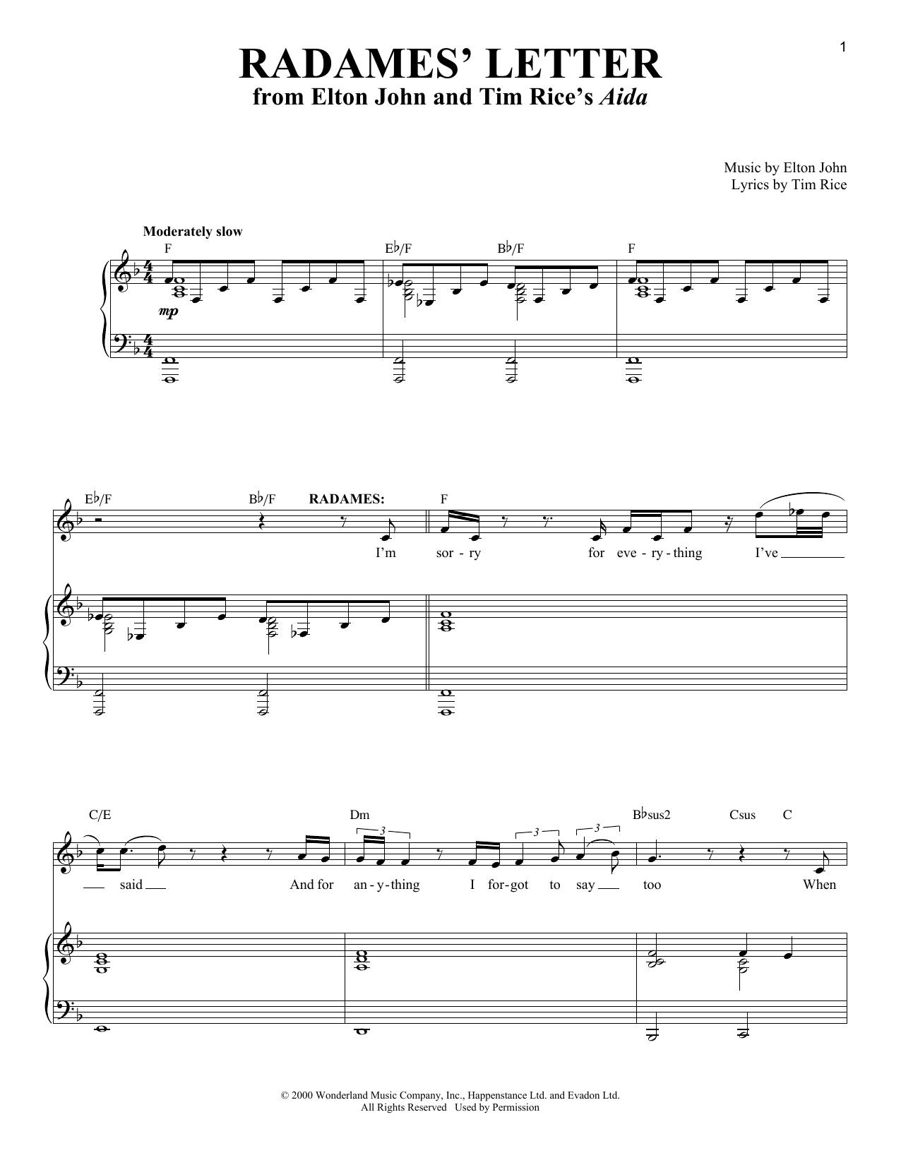 Partition piano Radames' Letter de Elton John - Piano Voix