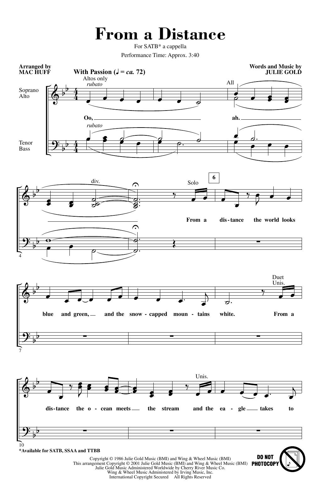 From A Distance (arr. Mac Huff) (SATB Choir)