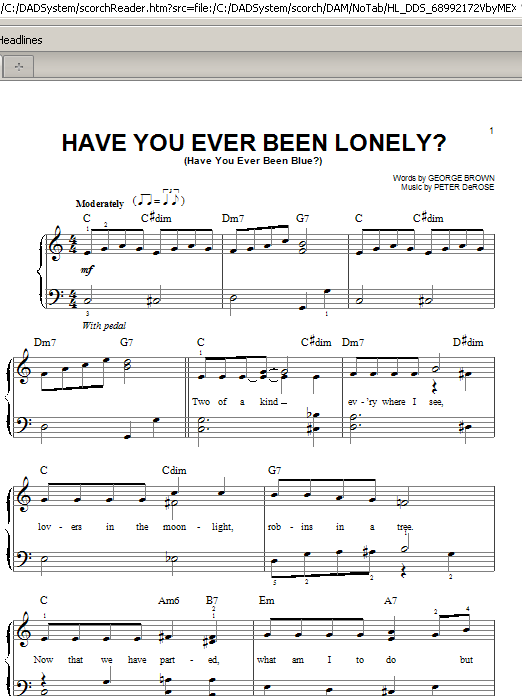 Have You Ever Been Lonely? (Have You Ever Been Blue?) (Easy Piano)