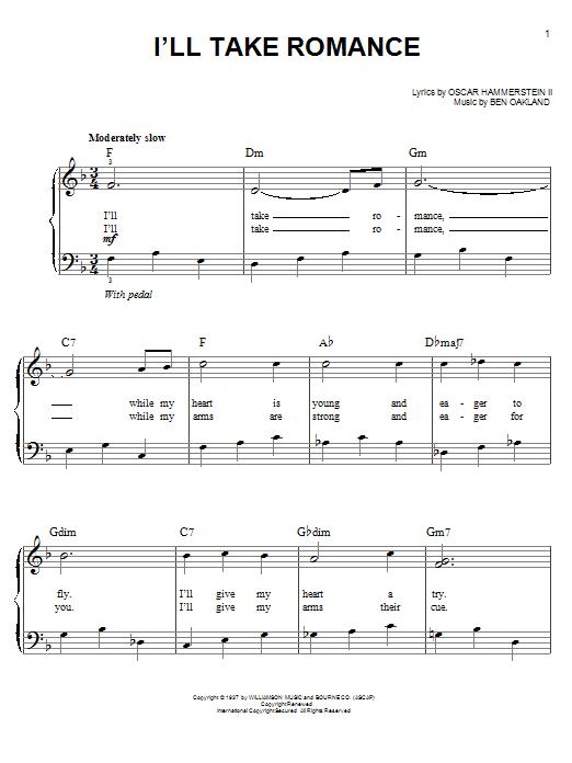 Partition piano I'll Take Romance de Ben Oakland - Piano Facile