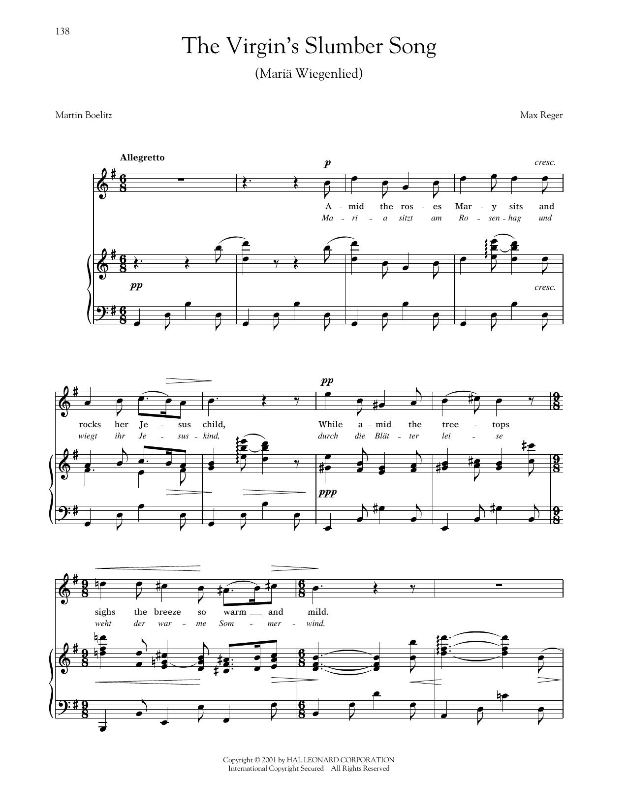 Mariä Wiegenlied (The Virgin's Slumber Song) (Reger) (Piano & Vocal)