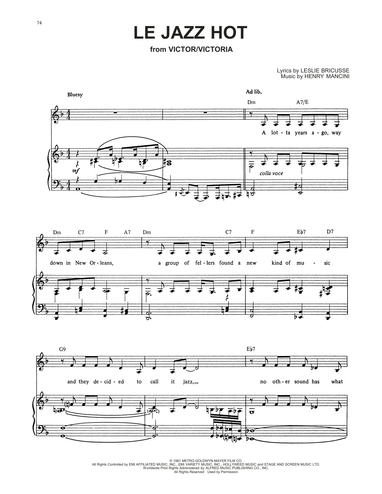 Le Jazz Hot (from Victor/Victoria) Sheet Music