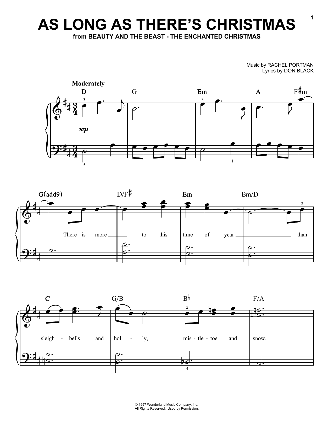 As Long As There's Christmas (from Beauty And The Beast - The Enchanted Christmas) (Easy Piano)