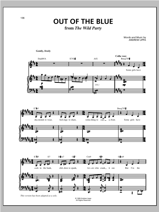 Out Of The Blue Sheet Music