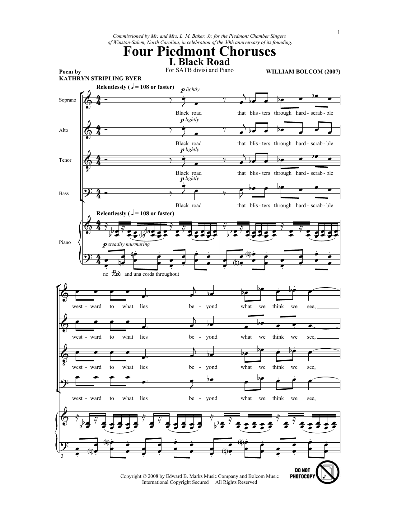 Four Piedmont Choruses Sheet Music
