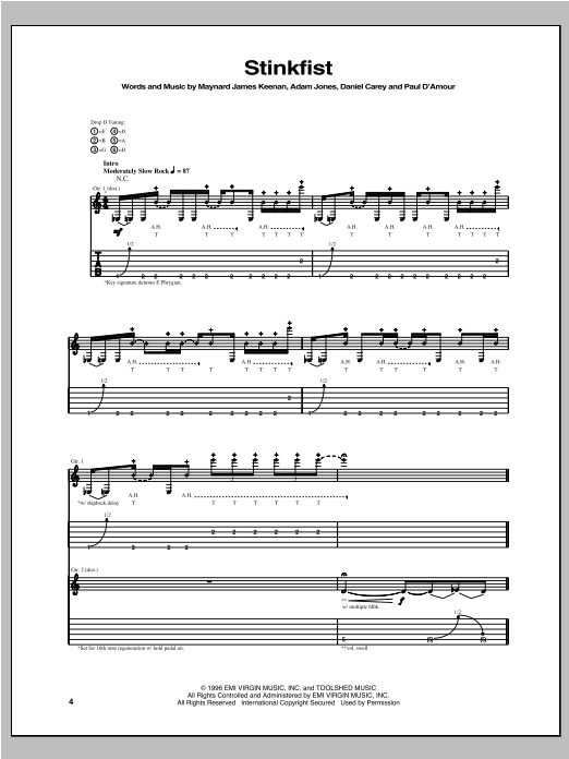 Tablature guitare Stinkfist de Tool - Tablature Guitare