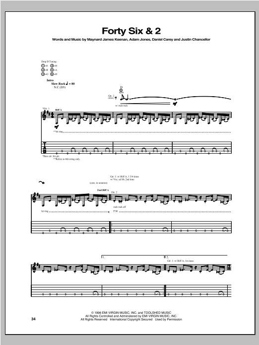 Forty Six & 2 Sheet Music