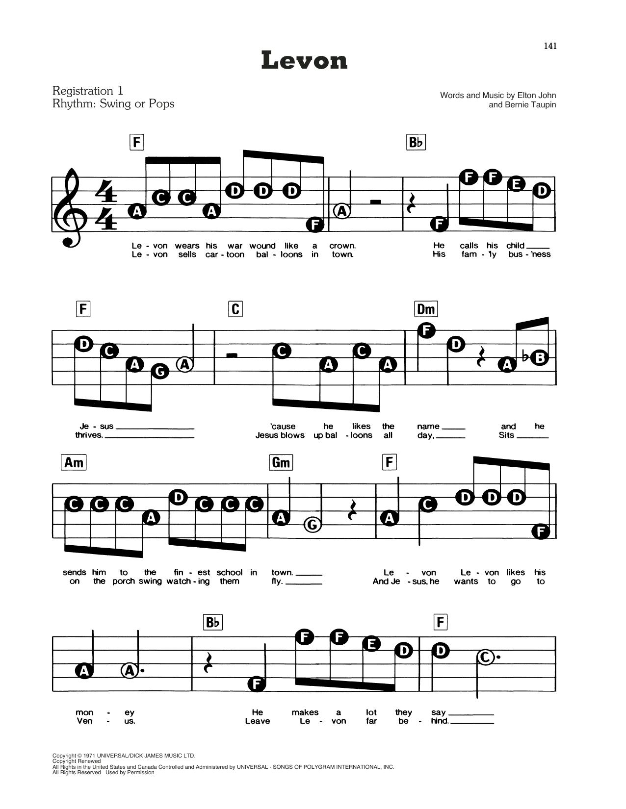 Levon Sheet Music