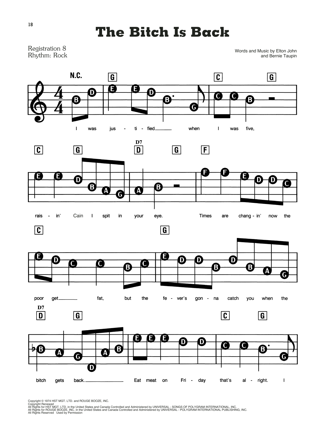 The Bitch Is Back Sheet Music