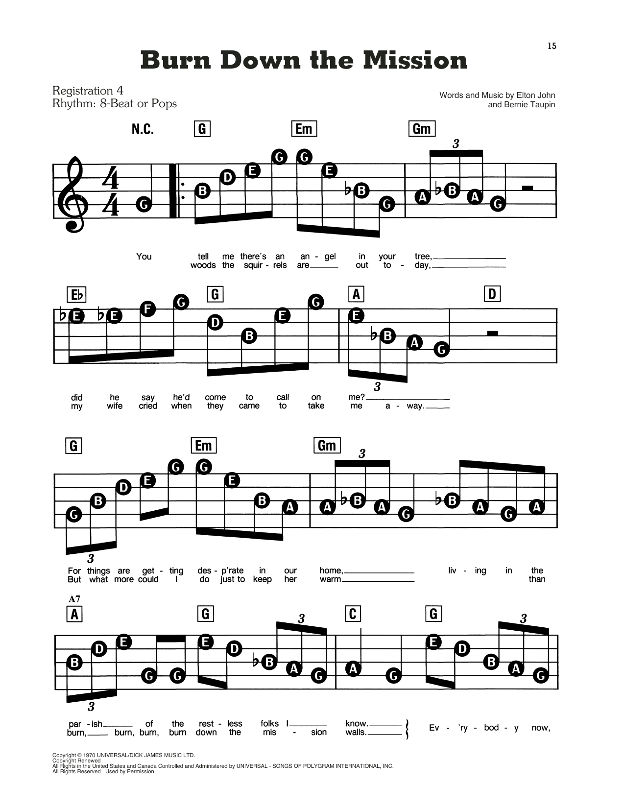 Burn Down The Mission Sheet Music