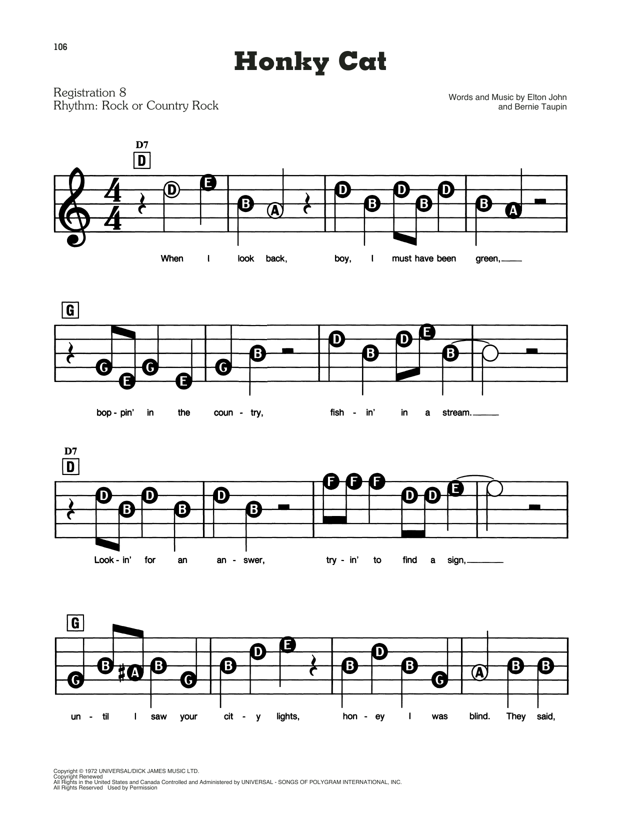Honky Cat (E-Z Play Today)